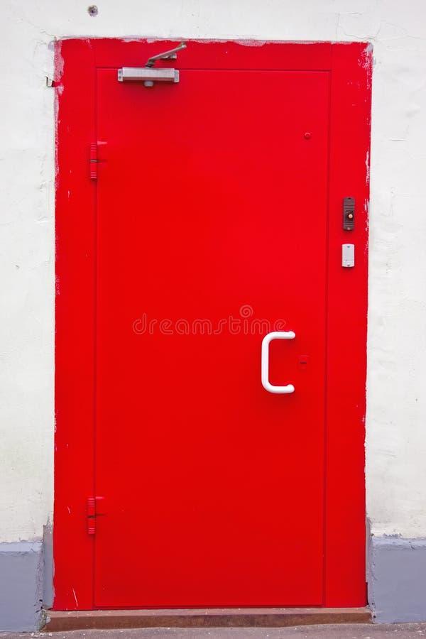 Red classic metal door stock photos