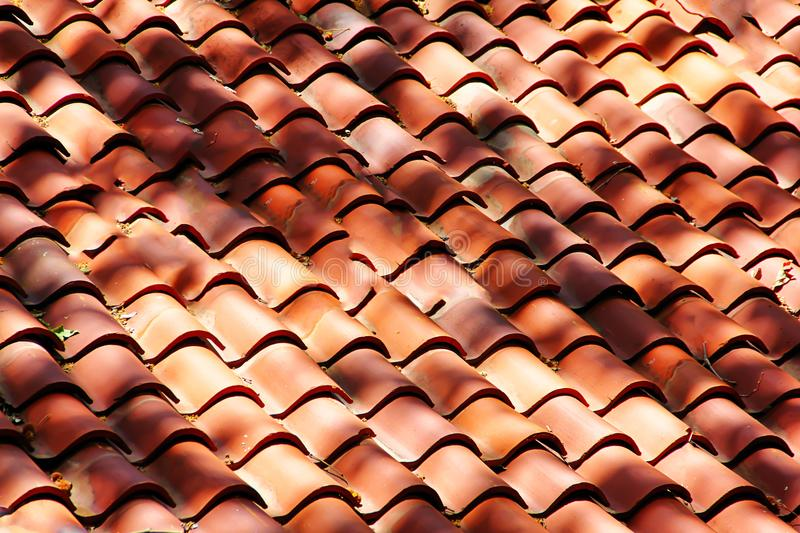 Red clay roof tiles. A picture of red clay roof tiles in Sedona Arizona royalty free stock photo