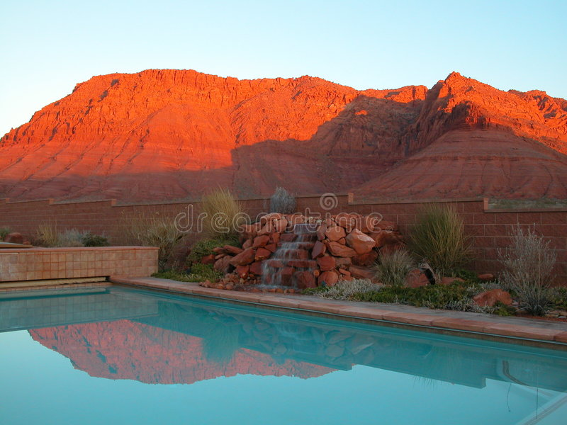 Download Red Cliffs Resort stock image. Image of reflection, waterfall - 166883