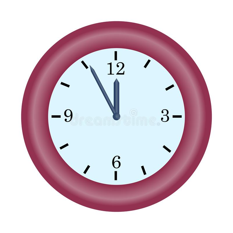 red clock minute hand on five to twelve hour simple vector icon vector illustration