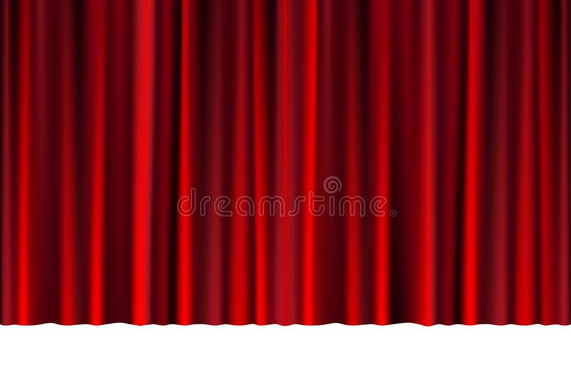 Red closed curtain in a theater or ceremony for your design. Draped Theatrical scene isolated on white. vector. Red closed curtain in a theater or ceremony for stock illustration