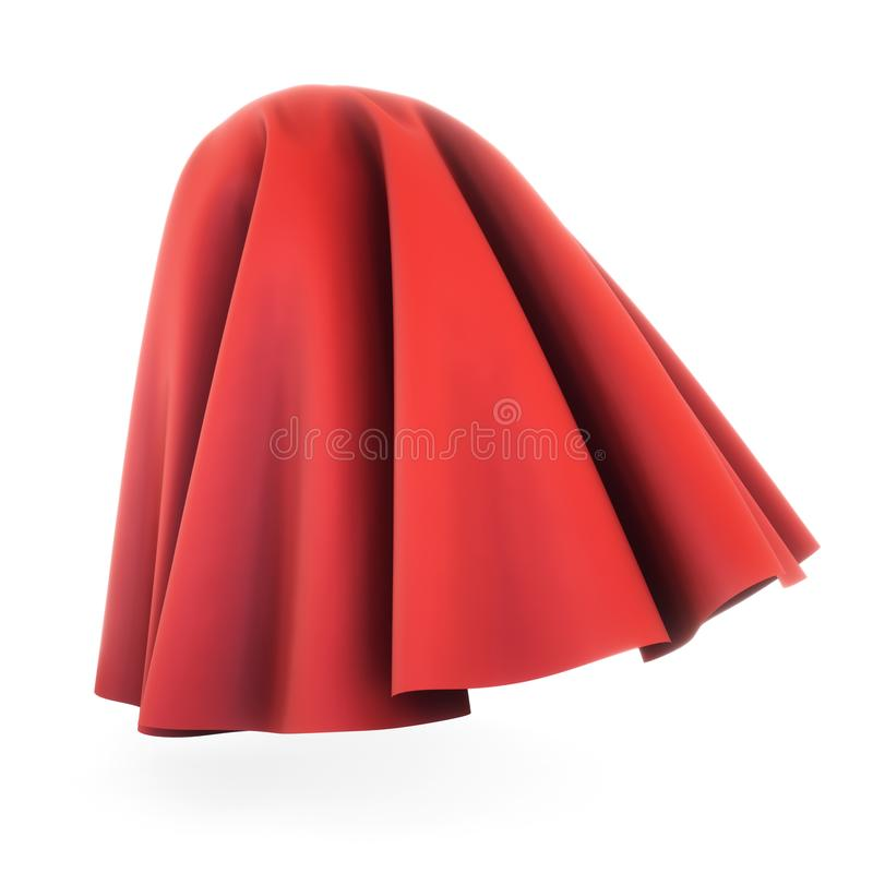 Red cloth cover sphere. 3d rendering on white background. Silk, satin fabric with pleats royalty free illustration