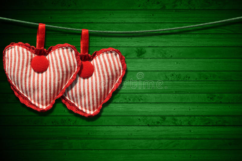 Download Red Cloth Hearts On Green Wood Background Stock Illustration - Image: 34693567