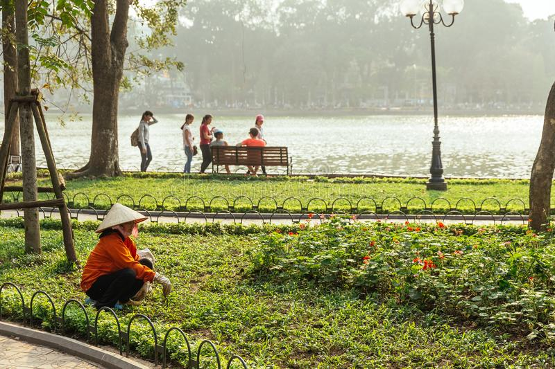 Red cloth woman gardener wearing Vietnamese conical hat cut grass in yard of outdoor park near Hoan Kiem Lake in Hanoi, Vietnam stock photos