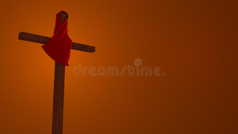 Red Cloth On Old Rugged Wooden Cross Illustration stock photos