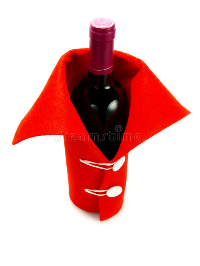 Red clothed wine for Christmas, New Year's Eve. Closeup photo of a nice clothed wine with red dress as decoration for Christmas or New Year's Eve. Isolated on stock photo