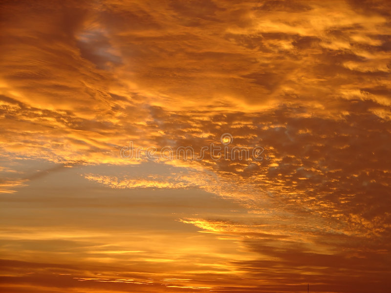 Red clouds. On sky after sunset stock photo