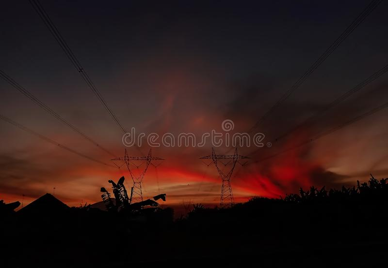 Red clouds at dusk. Silhouette, sky, natural, nature royalty free stock images