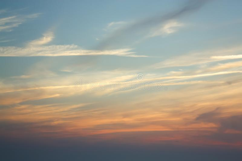 Red clouds in the evening sky royalty free stock photography