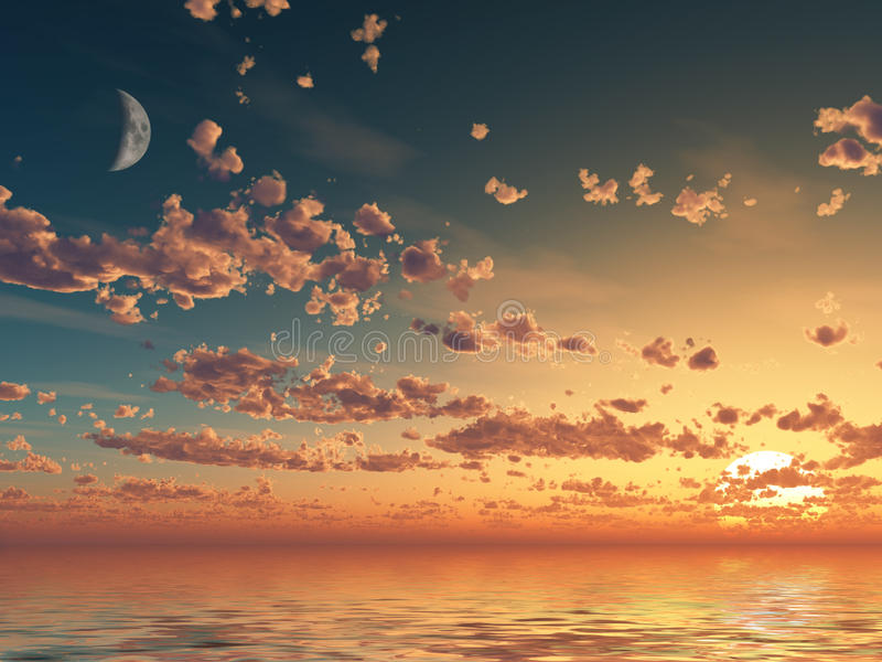 Red clouds sunset. On sea, illustration stock photo