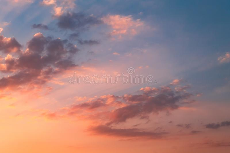 Red clouds sunset with the beautiful rays royalty free stock image