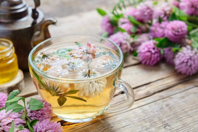 Red clover flowers, healthy herbal tea cup, honey jar and vintage copper tea kettle. royalty free stock photos