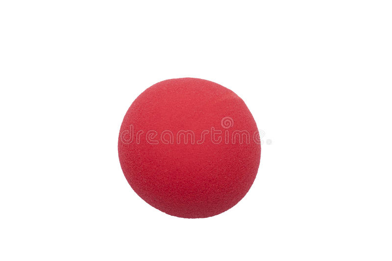 Red clown nose isolated stock image