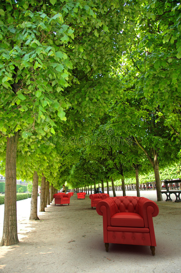 Download Red Club Sofas In  A Garden Stock Image - Image: 6740991