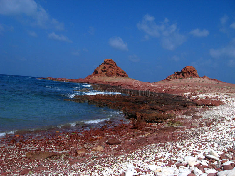 Red Coast. A beautiful colored coast in Socotra Island - Yemen royalty free stock image