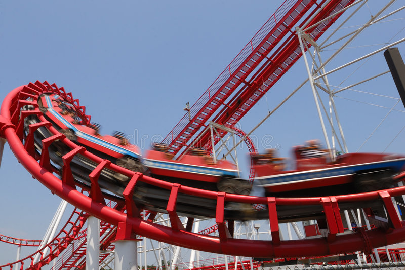 Download Red Coaster Flashing stock image. Image of ride, excitement - 2975453