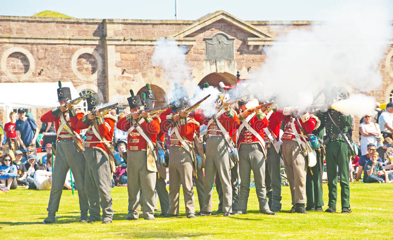 Download Red Coat Soldiers Firing Rifles At Fort George Editorial Stock Image - Image of history, guards: 26542054