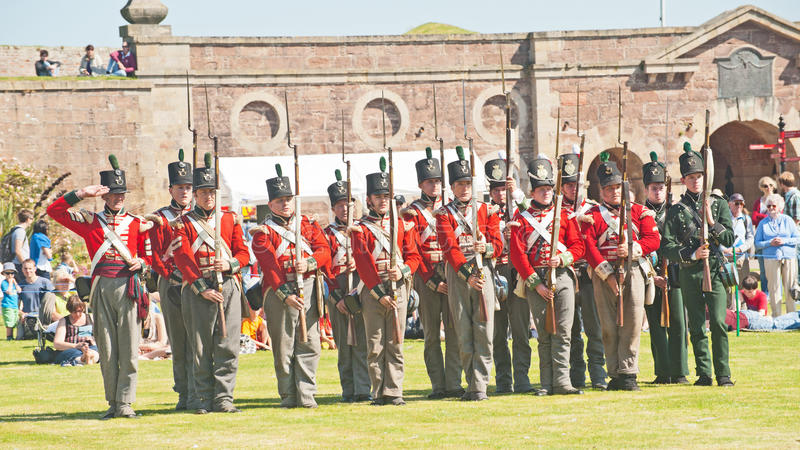 Red Coat Soldiers At Fort George Editorial Photo