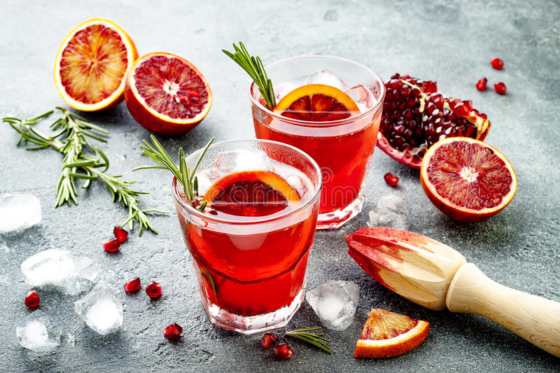 Red Cocktail With Blood Orange And Pomegranate. Refreshing ...