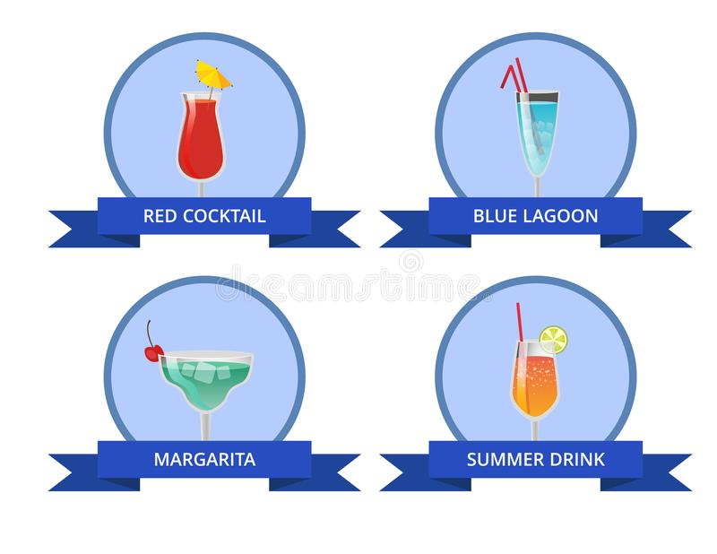 Red Cocktail Blue Lagoon Margarita Summer Drink royalty free illustration