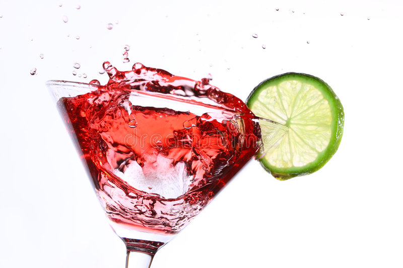 Download Red Cocktail With Lime On White Stock Image - Image: 8940235