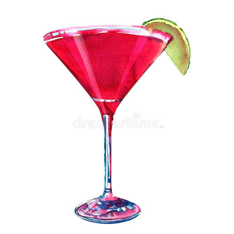 Red cocktail with orange, lime slice, martini, cosmopolitan, alcoholic beverage, isolated, hand drawn watercolor royalty free stock images