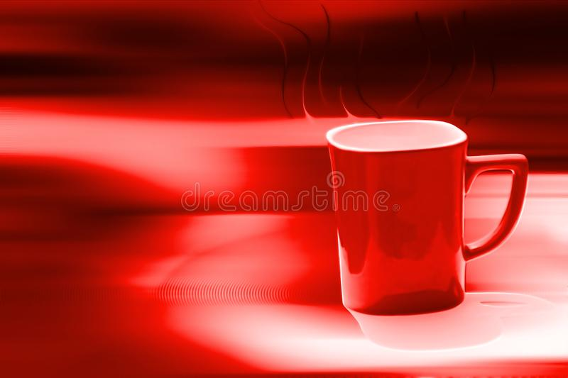 Red coffee cup in blur background. It can be use in card making, branding, screen saver, background royalty free stock photos