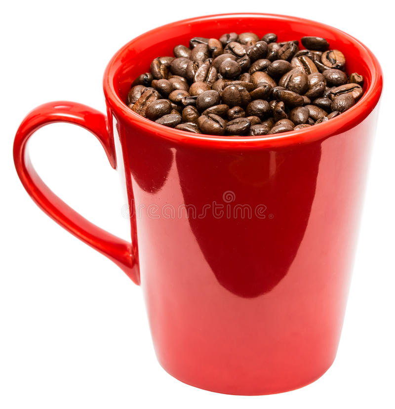 Red Coffee Cup With Coffee Beans royalty free stock photo