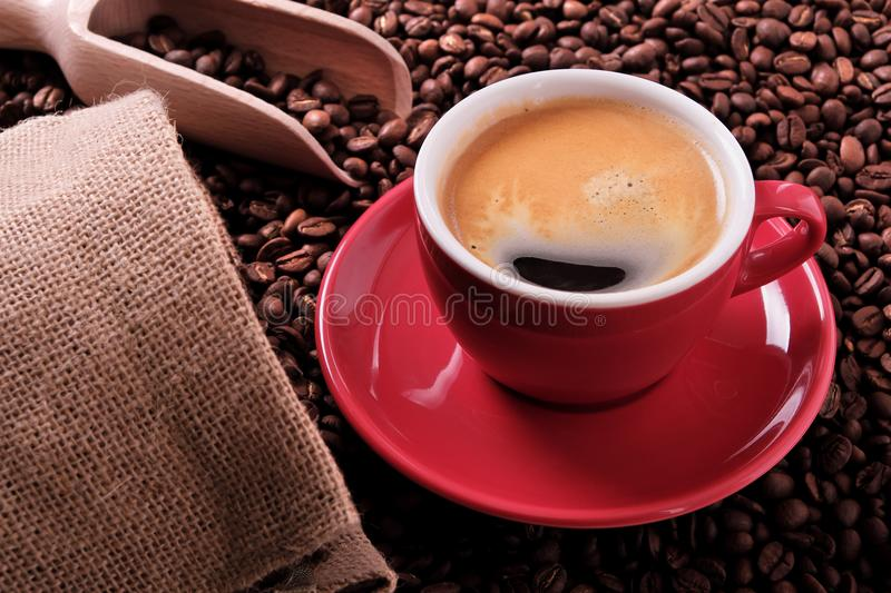 Red coffee cup with espresso froth and roasted beans. Red coffee cup with espresso and roasted beans royalty free stock photos