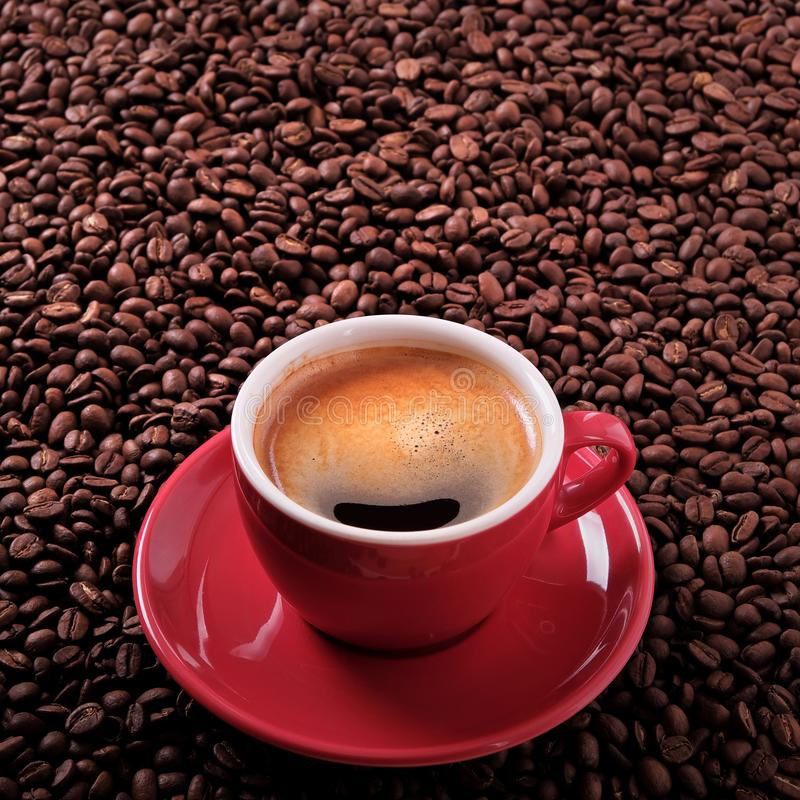 Red coffee cup espresso roasted beans background square format. Red coffee cup espresso roasted beans background stock images
