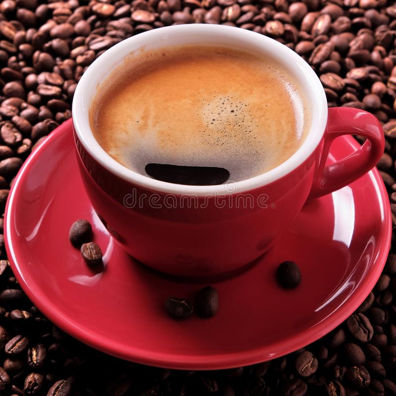 Red coffee cup espresso roasted beans close up square format. Red coffee cup espresso roasted beans close up royalty free stock image