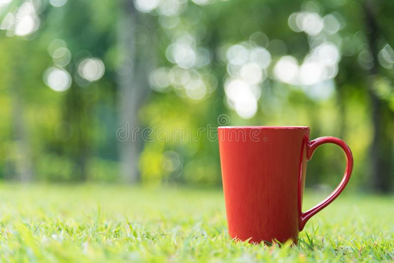 Red coffee cup on green grass field in morning time.  royalty free stock photo