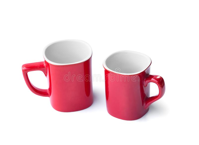 Red coffee cup with simple design isolated on white background royalty free stock image