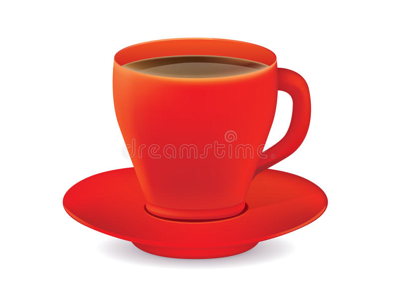 Red coffee glass and saucer. Red coffee glass vector and saucer on white background vector illustration