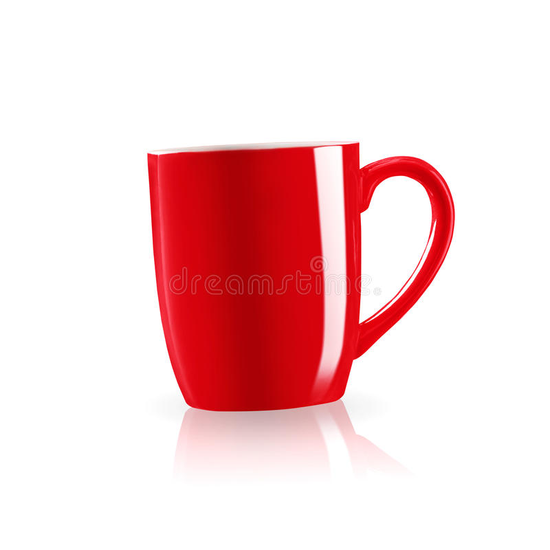 Red coffee mug with shadow on white background. stock image