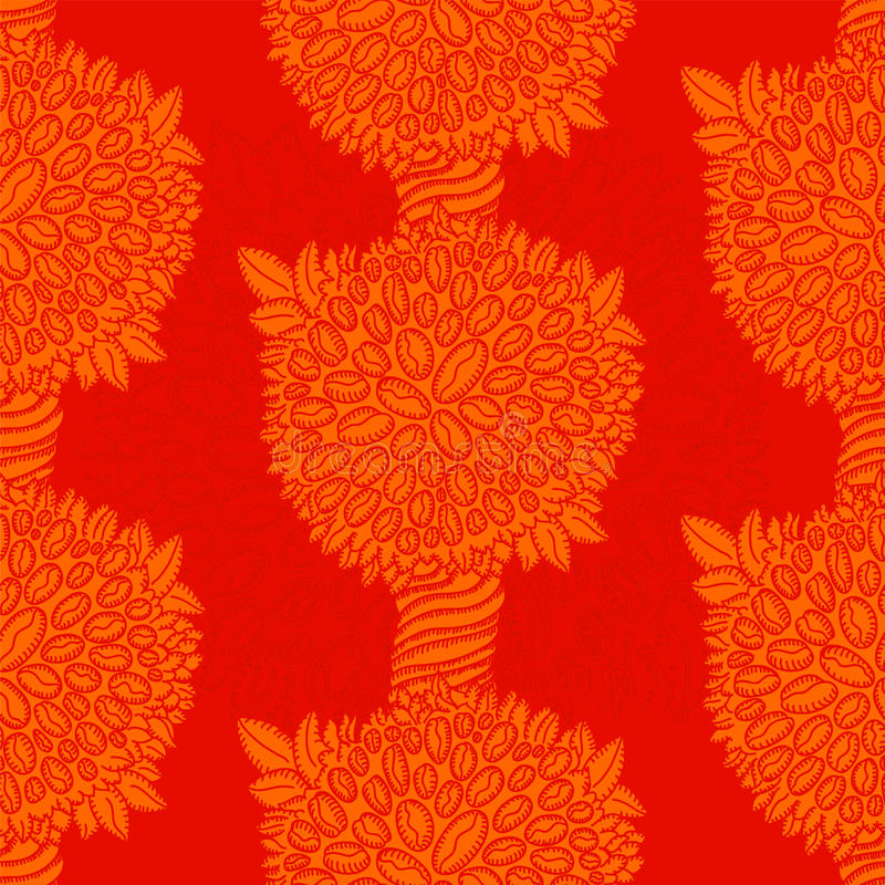 Red coffee tree garden. Tileable red pattern coffee tree with beans background vector illustration