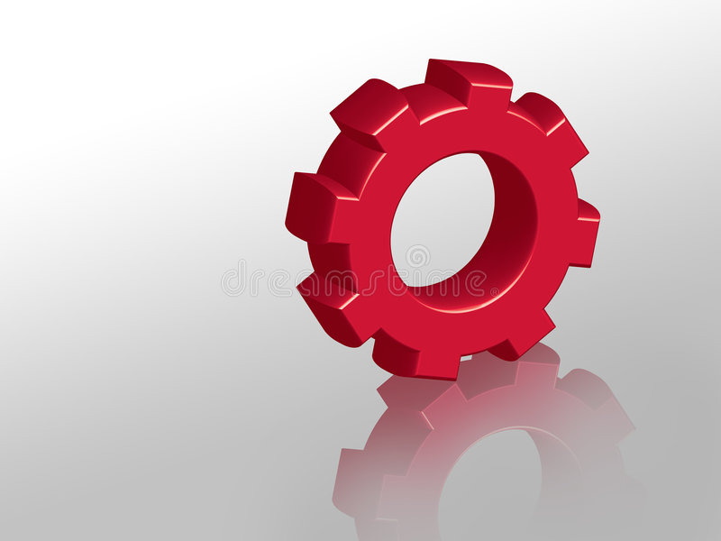 Red Cog. Over shiny surface stock illustration