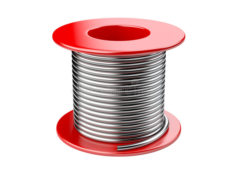 Red coil with wire. 3d illustration on a white background stock illustration