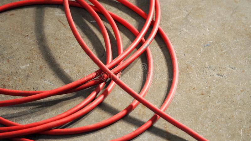 Red Color Electric Power Wire Cable. Stock Photo - Image of ...