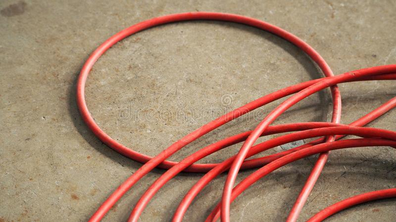 Red Color Electric Power Wire Cable. Stock Image - Image of part ...