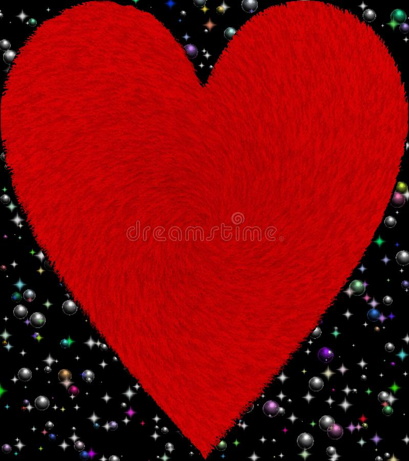 Red color furry heart with shinning stars and bubbles background computer generated image and wallpaper design vector illustration