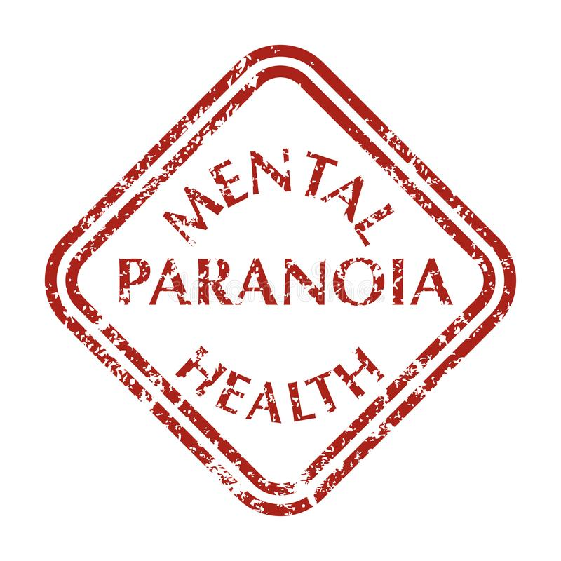 Mental disorder paranoia stamps vector illustration