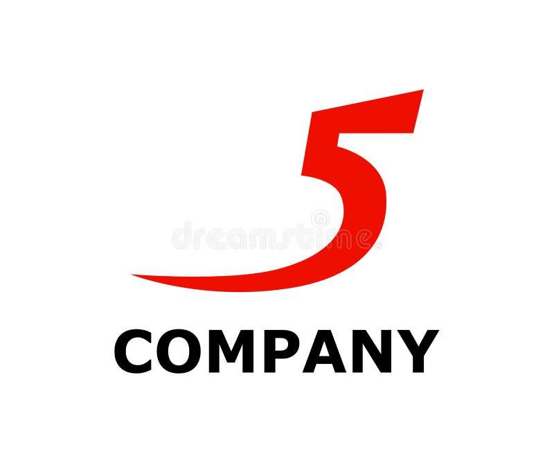 Red type number 5. Red color number 5 type as five in alphabet letter logo design illustration concept vector illustration