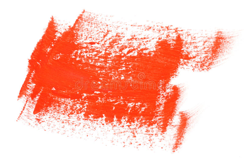 Red color paint brush strokes. Red water color paint brush strokes on white background stock images