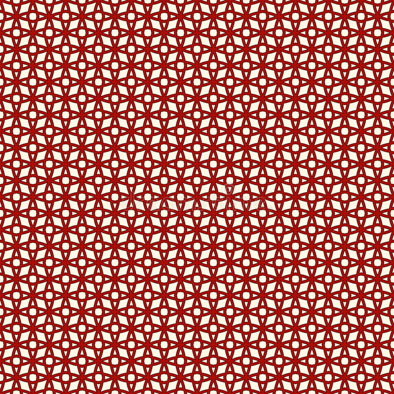 Red color seamless pattern with stylized repeating stars. Tracery geometric ornament. vector illustration