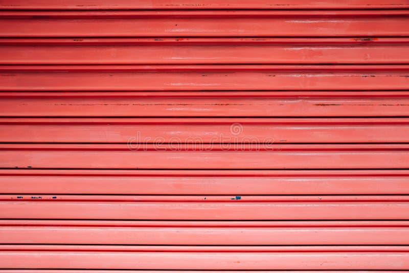 Red color shutter door stock photos