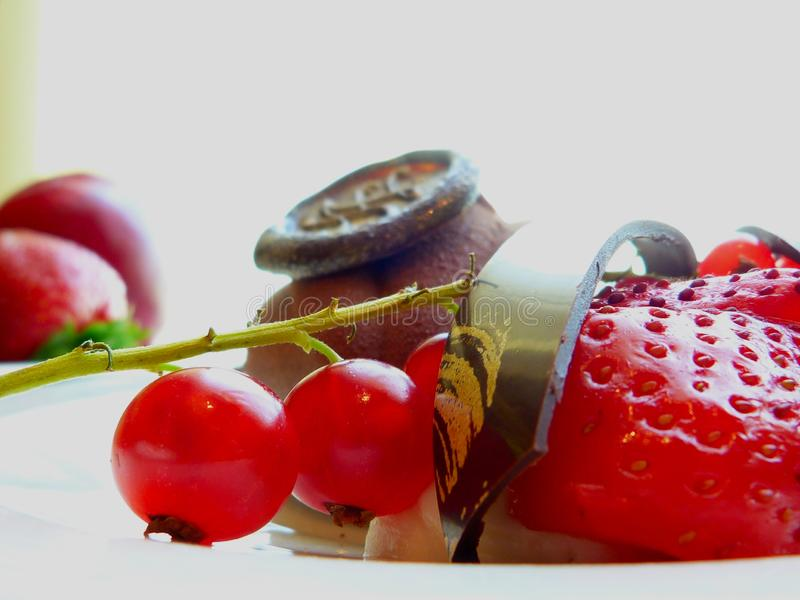 Red currant and strawberry on white fruit plate with elegant powdery brown cake e. Red color summer fruit close-up with selective focus. blurry background. brown royalty free stock image