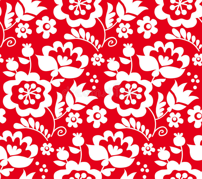 Red color traditional european Ukrainian ornament. r. Ustic floral composition. rural folk style flower seamless pattern stock illustration