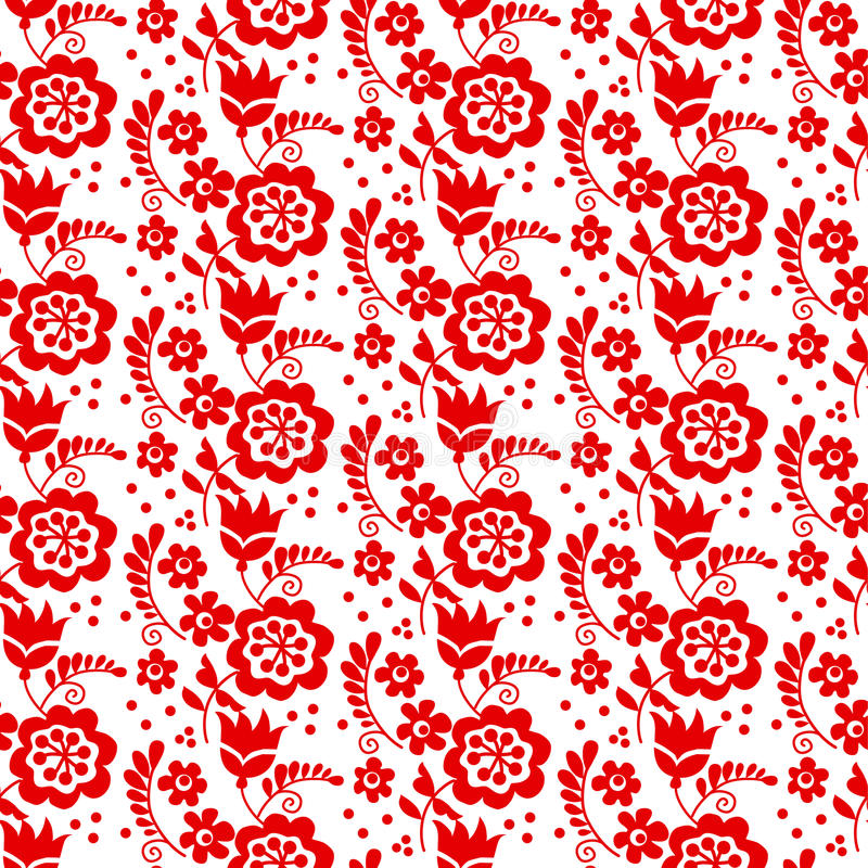Red color traditional european Ukrainian ornament. r. Ustic floral composition. rural folk style flower seamless pattern royalty free illustration