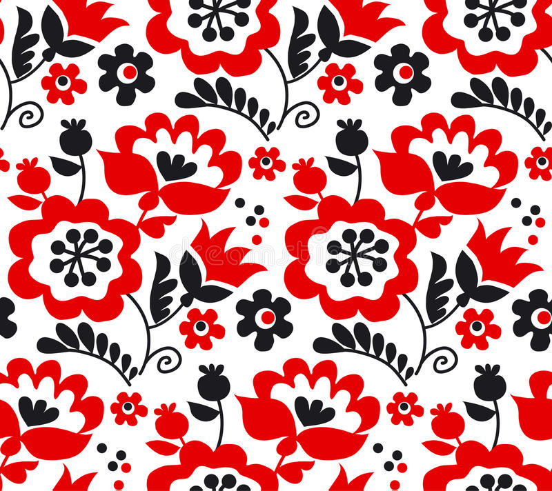 Red color traditional european Ukrainian ornament. Rustic floral composition. rural folk style flower seamless pattern stock illustration